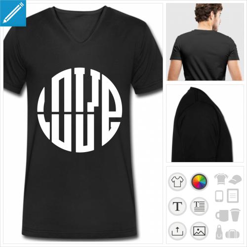 T-shirt personnalisé pour homme, col en V et manches courtes, design graphique LOVE aux lettres formant un cercle.