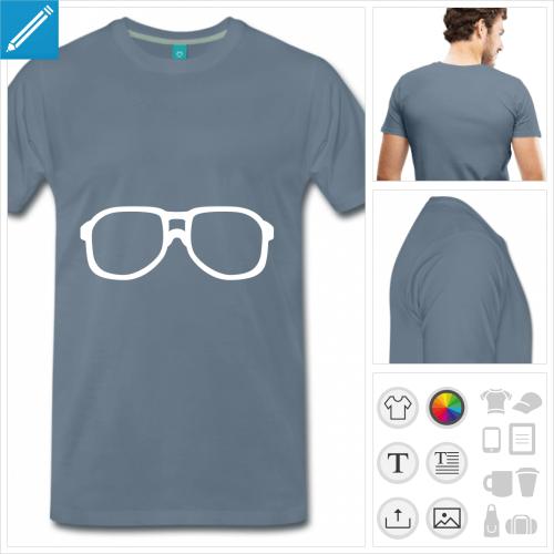 T-shirt lunettes de nerd à montures carrées, t-shirt personnalisable.
