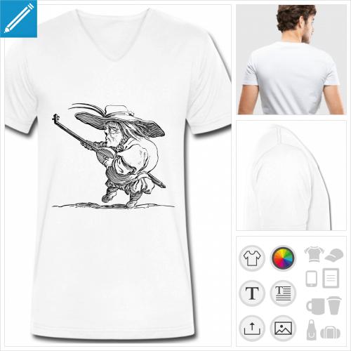 t-shirt homme joueur de luth à créer en ligne