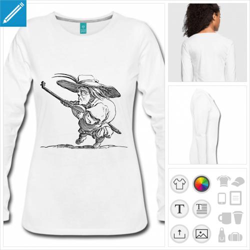 t-shirt femme joueur de luth à personnaliser en ligne