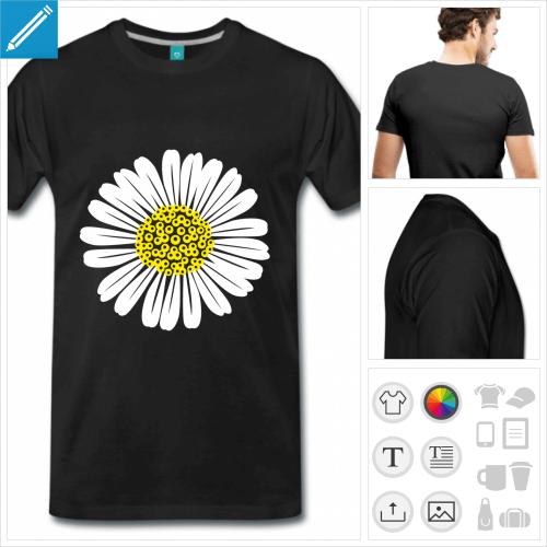 t-shirt fleur personnalisable, impression à l'unité
