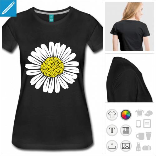 t-shirt premium marguerite à personnaliser et imprimer en ligne