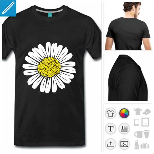 t-shirt marguerite personnalisable, impression à l'unité