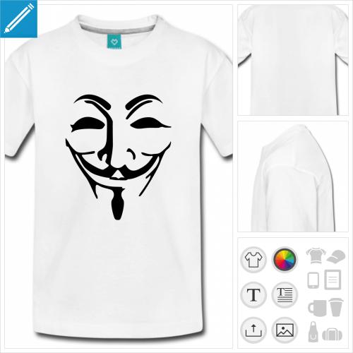 t-shirt basic masque fawkes à créer en ligne