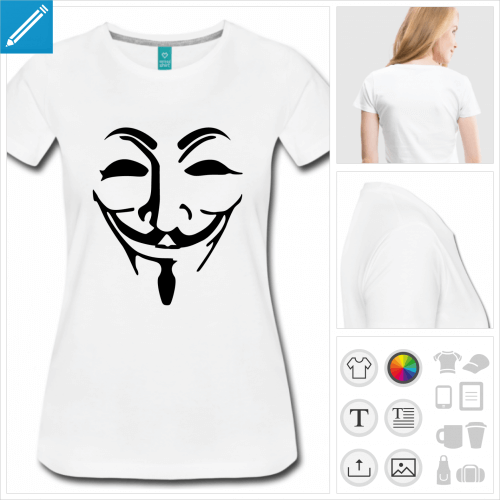 tee-shirt anonymous personnalisable, impression à l'unité