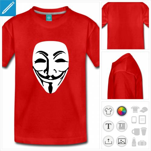 t-shirt pour adolescent guy fawkes à créer soi-même