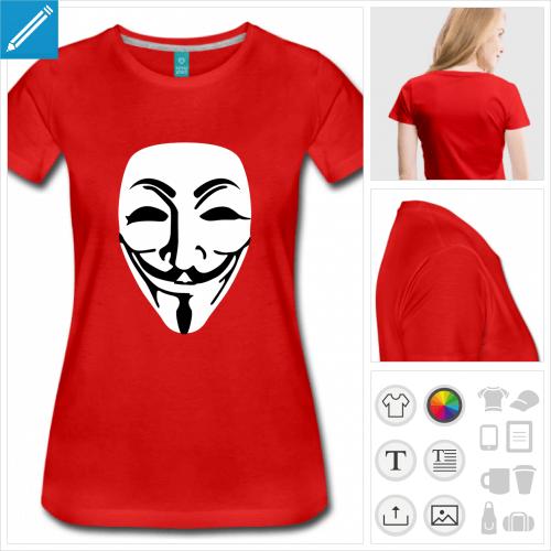 t-shirt manches courtes guy fawkes à imprimer en ligne