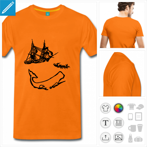 T-shirt Moby Dick, bateau baleinier et baleine à imprimer enligne.