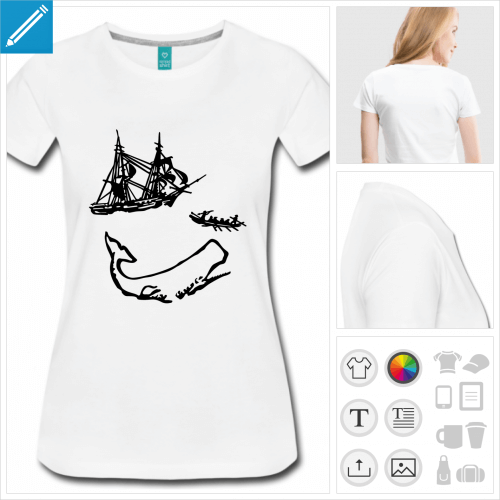 t-shirt manches courtes baleine moby dick à créer soi-même