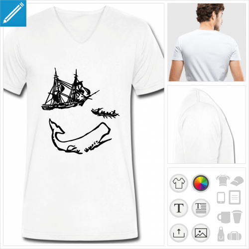 t-shirt simple moby dick personnalisable, impression à l'unité