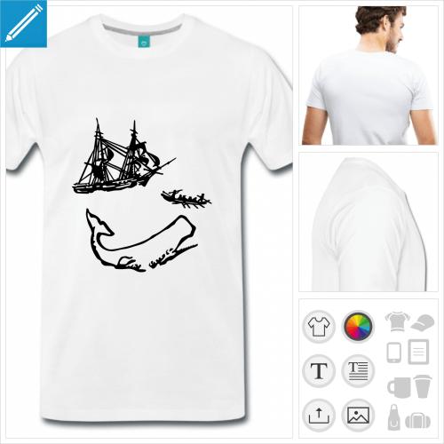 t-shirt blanc moby dick à créer en ligne