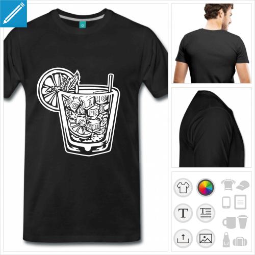 T-shirt mojito ergo sum, à la couleur personnalisable, à imprimer sur t-shirt noir ou foncé.