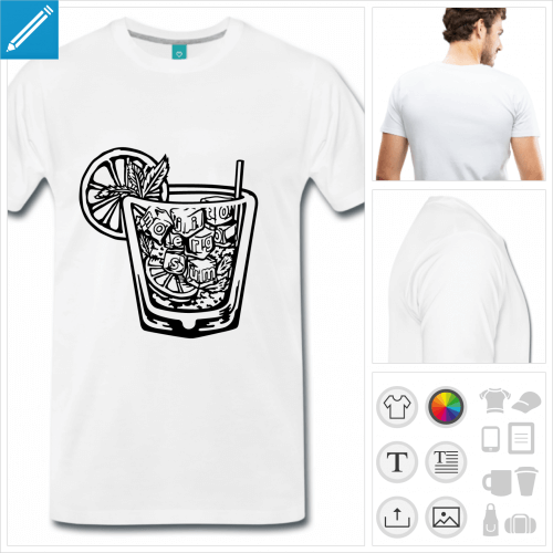 T-shirt mojito, blague mojito ergo sum à imprimer en ligne pour l'apéro.
