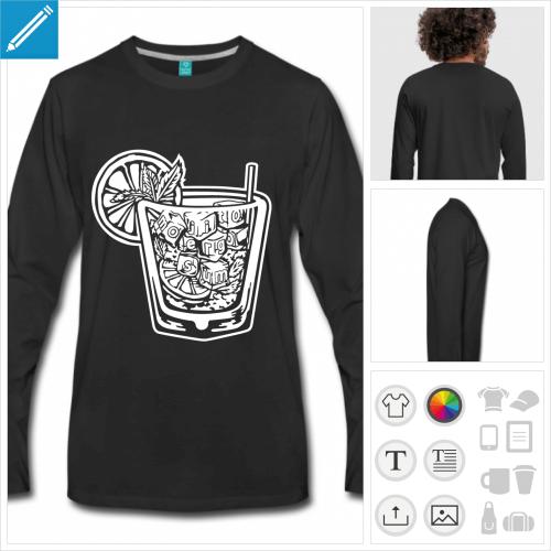 t-shirt manches longues alcool à personnaliser, impression unique