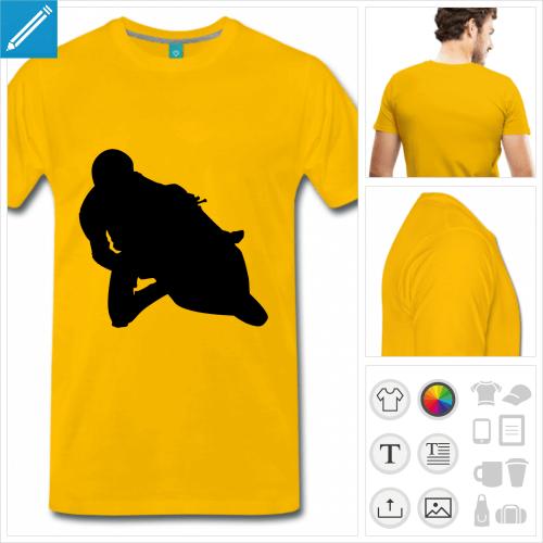 T-shirt moto, motard sur moto de course, silhouette noire à personnaliser.
