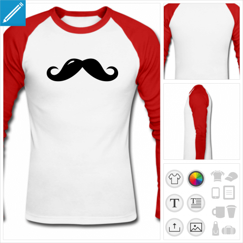 t-shirt moustache anglaise à personnaliser, impression unique