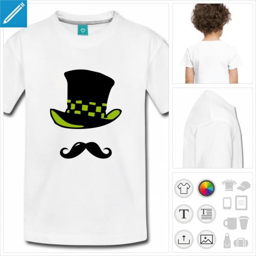 t-shirt enfant moustache chapeau personnalisable