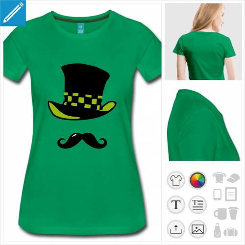 t-shirt vert chapelier à créer soi-même