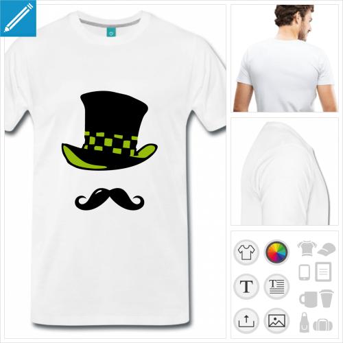 T-shirt moustache et chapeau haut de forme du Chapelier fou, à personnaliser et imprimer en ligne. Chapeau coloré à damier personnalisable.