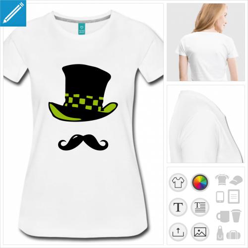 t-shirt manches courtes moustache chapeau à personnaliser et imprimer en ligne