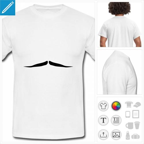 t-shirt simple moustache rigolote à personnaliser en ligne