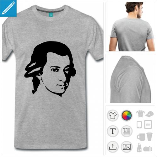 T-shirt Mozart à personnaliser et imprimer, portrait du compositeur.