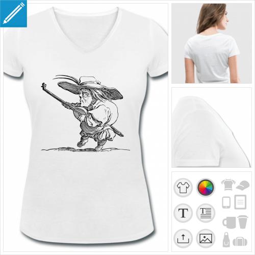 t-shirt col v musicien à créer soi-même