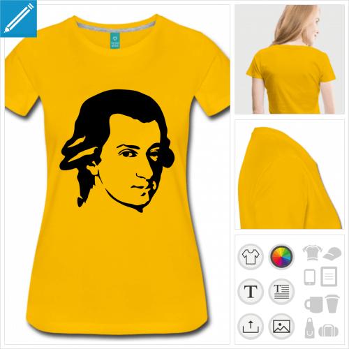 t-shirt pour femme mozart à personnaliser et imprimer en ligne