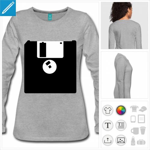 t-shirt femme ordinateur à créer en ligne