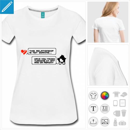 t-shirt femme citation nerd à personnaliser