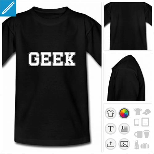t-shirt manches courtes nerd à personnaliser, impression unique