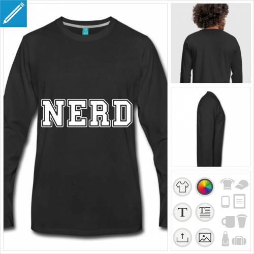t-shirt noir nerd à personnaliser et imprimer en ligne