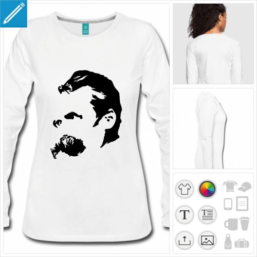 t-shirt manches longues Friedrich Nietzsche à créer soi-même