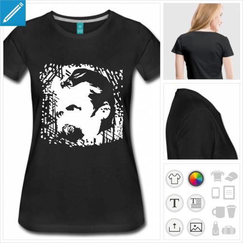 T-shirt Nietzsche à personnaliser, portrait du philosophe découpé sur texture irrégulière.