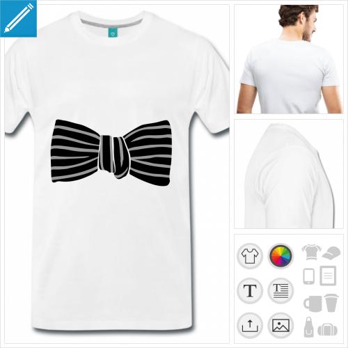 T-shirt noeud papillon rayé à imprimer, faux noeud papillon aux couleurs personnalisables.