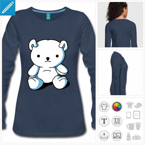 t-shirt femme nounours à créer en ligne