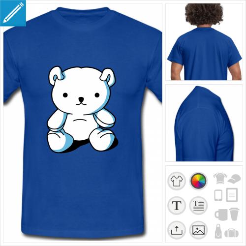 t-shirt bleu kawaii personnalisable, impression à l'unité