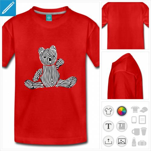 t-shirt à manches courtes ourson à personnaliser et imprimer en ligne