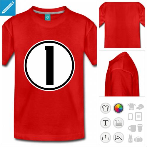 t-shirt ado Numéro 1 à personnaliser