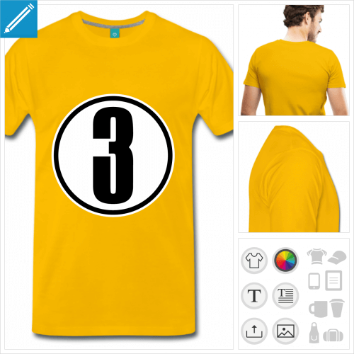 T-shirt numéro 3, t-shirt numéro à personnaliser et imprimer en ligne.