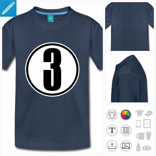 t-shirt bleu Chiffre 3 à personnaliser et imprimer en ligne
