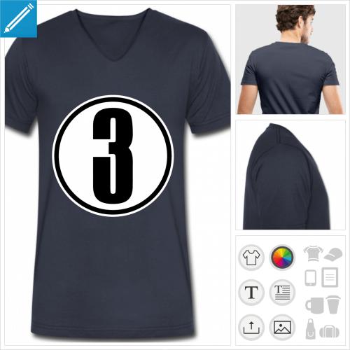 t-shirt manches courtes Chiffre 3 personnalisable, impression à l'unité