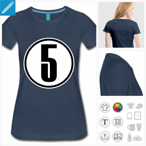 t-shirt manches courtes Numéro 5 à personnaliser en ligne