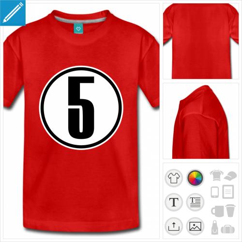 t-shirt à manches courtes Chiffre 5 personnalisable