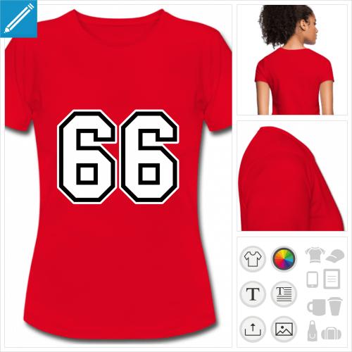 t-shirt femme Numéro 66 à imprimer en ligne