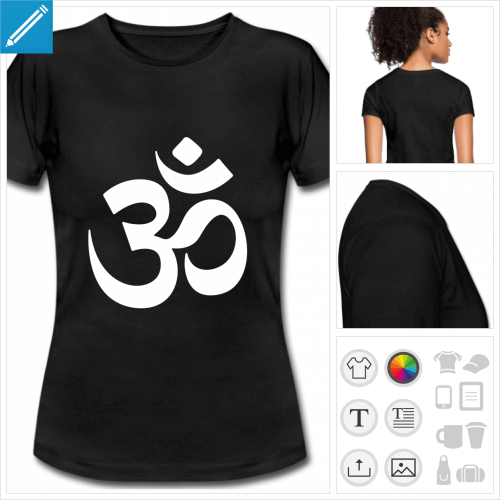 t-shirt blanc simple om hindou à personnaliser