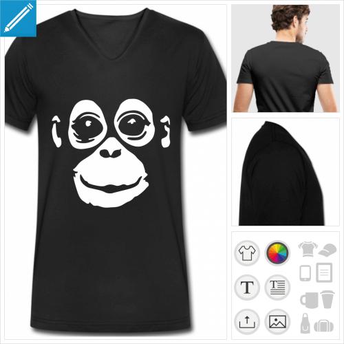 t-shirt pour homme singe personnalisable, impression à l'unité