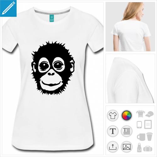 t-shirt manches courtes bébé singe à personnaliser