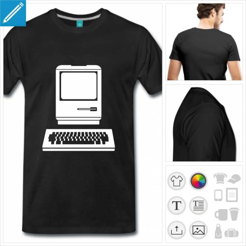 T-shirt ordinateur vintage à imprimer en ligne, créez votre t-shirt informatique personnalisé.