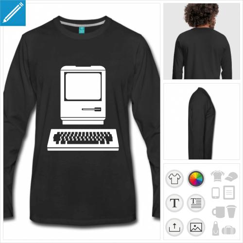 t-shirt noir ordinateur à créer en ligne